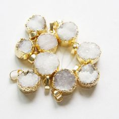 One Piece Natural Hand Cut Raw Brass Framed White Druzy Pendant (6)