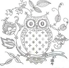 Sweet free owl embroidery pattern!