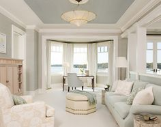 BEST --- favorite color combo - pale blue ceiling, gray walls, creamy trim.  !!! Ceiling is Benjamin Moore-- Gull Wing Gray. Walls are BM -- Revere Pewter.