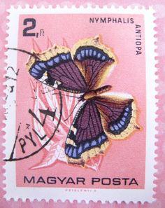 Butterfly stamp set Hungary postage stamp ephemera by thriftypyg