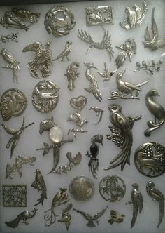 Bird pin collection in silver
