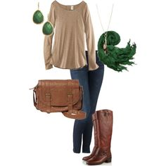 casual  This is sooooooo me!  My usual solid basic color and a touch of my favorite green....  Boots/jeans/ hair back with drop earrings and a comfy sweater......  Oh Yeah!!