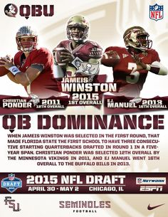 #FSU is the 1st school to have three 1st round QBs drafted in a 5 year span.