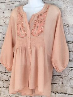 Free People Sz S Boho Embroidered Smocked Peasant Hi Lo Blouse | Clothing, Shoes & Accessories, Women's Clothing, Tops & Blouses | eBay!