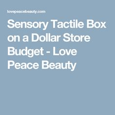 Sensory Tactile Box on a Dollar Store Budget - Love Peace Beauty