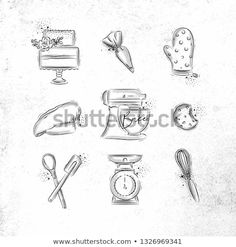 Bakery icon set with illustrated pastry bag, cake, mitts, cook cap, kneading mac. Cooking For A Group, Cooking For Two, Fun Cooking, Cooking Hacks, Cooking Gadgets, Cooking Videos, Cooking Tools, Cooking Time, How To Cook Steak