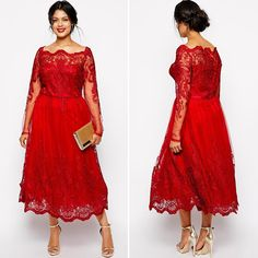 Find a Fashion Tea Length Red Lace Prom Dresses 2016 Boat Neck Long Sleeve Prom Dress Plus Size Tulle Girls Short Party Gowns Online Shop For U !