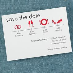 It's Time to Save the Date White Card - Merlot
