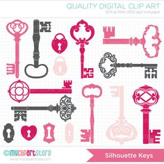 Clipart Silhouettes  Pink Skeleton Keys Clip Art by MyClipArtStore, $4.50