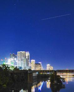 Austin Texas. is that a shooting star? #atx #austintx #downtownaustin #ladybirdlake #skyline by therealjonathanberry