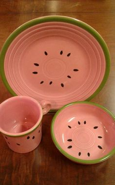 Fiesta® 3-piece Watermelon Luncheon Plate, Ring Handle Mug and Bowl made by Homer Laughlin China Company in the USA! | eBay