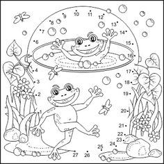 Happy Frogs Connect The Dots Puzzle And Coloring Page Commercial Use Allowed