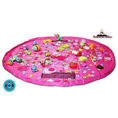 Toy Organizer - Baby Play Mat - Toy Storage Bag - Quick Storage Pouch - Floor Activity Mat (Pink)