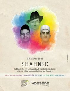 23 March 1931 Shaheed Creative Ad Abasana advertising www. Crazy Facts, Weird Facts, Lion Hd Wallpaper, Zelda Drawing, Kargil War, Bhagat Singh, Holi Celebration, 23 March, Social Advertising