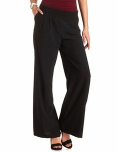 Pleated High-Waisted Palazzo Pants: Charlotte Russe