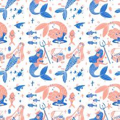 Ocean treasures by giovana medeiros #pattern #seamless MERMAID Kids Patterns, Pretty Patterns, Color Patterns, Cute Pattern, Coral Pattern, Pattern Illustration, Graphic Design Illustration, Pattern Paper, Pattern Art