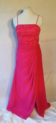 Hot pink chiffon gown,beading,sequins,rhinestones,spaghetti straps,slit,formal,prom,bridesmaid,alternative wedding,upcycled,Size L by DoubleTakeGlamour on Etsy https://www.etsy.com/listing/245346383/hot-pink-chiffon