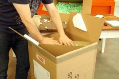 The foam bit's are full of air and are very light and strong. The box needs to be gently shaken to allow the bits to move around and surround the mirror form better. We then press the foam bits down and insure it's packed in enough.
