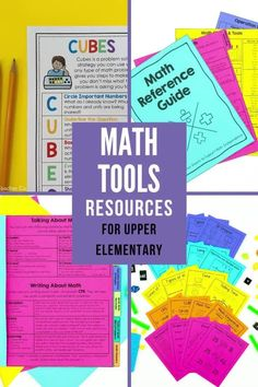 All the math tools to help your students build confidence and become great problem solvers. Includes problem solving posters that review strategies used to solve math problems such as CUBES, math reference sheets which provides students with reminders, prompts, formulas and problem solving strategies. It is a great tool for students to refer to during independent practice. Lastly the math tools resource rings that includes 68 mini posters to remind students of important math skills. Math Strategies Posters, Math Resources, Math Charts, Math Anchor Charts, Interactive Math Journals, Math Notebooks, Math Tools, Math Skills, Math Reference Sheet