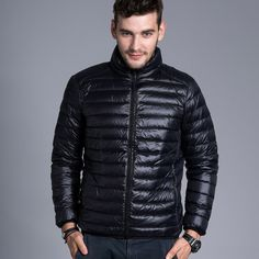 72a5bffd4c3 Men casual warm Jackets solid thin breathable Winter Jacket