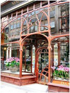 Art Nouveau Facade, Café Maison du Peuple-Daniel Ost, Brussels, Belgium - Maison…