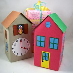 Craft project: See how to recycle milk and juice cartons, or any size of gable-top carton, into strong gift boxes. You can either wrap the boxes in your favorite way, or transform the carton into a house or a cuckoo clock using Aunt Annie's patterns. Kids Crafts, Diy And Crafts, Craft Projects, Paper Crafts, Diy Gift Box, Diy Gifts, Gift Boxes, Milk Carton Crafts, Milk Cartons