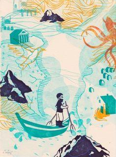 Gravures & Estampes | Evelyne Mary | Traversée en barque | Tirage d'art en série limitée sur L'oeil ouvert