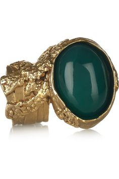 Yves Saint Laurent  Arty gold-plated glass ring.-Asked for this for my big 40th coming up from my sisters. Love the green!!
