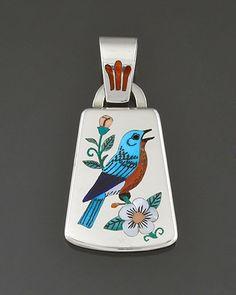 Silver & Inlay Pendant by Rudell & Nancy Laconsello (Zuni)