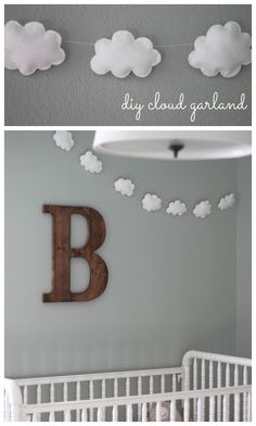 Baby- und Kinderzimmer Deko mit Wolken – 15 traumhafte Ideen Children's room decoration with clouds garland Baby Room Diy, Baby Bedroom, Baby Boy Rooms, Baby Boy Nurseries, Diy Baby, Baby Nursery Ideas For Boy, Modern Nurseries, Baby Nursery Diy, Girl Rooms
