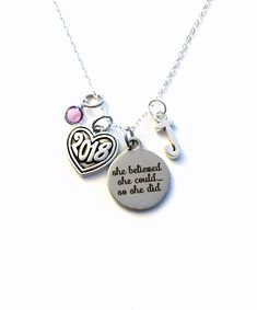 Graduation Necklace Graduation Jewelry, Silver Charm Gift for daughter birthstone initial letter She believed she could so she did can by aJoyfulSurprise on Etsy Graduation Necklace, She Believed She Could, Initial Letters, Love Necklace, Silver Charms, Laser Engraving, Birthstones, Antique Silver, Initials