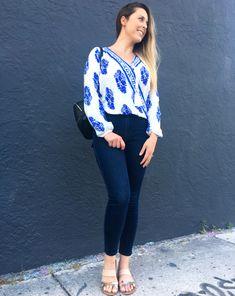 fd2d32a709 $14 Blue & White Pretty Summer Blouse - Shein.com Summer Blouses, High