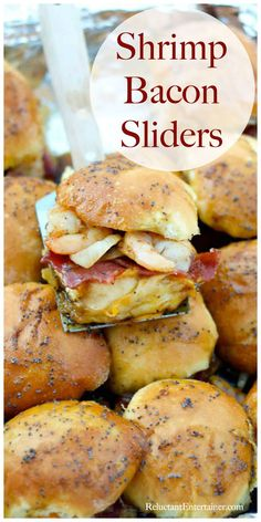 BEST Shrimp Bacon Sliders for easy entertaining and holiday fun - Seafood Recipes Slider Recipes, Fish Recipes, Meat Recipes, Seafood Recipes, Appetizer Recipes, Sandwich Recipes, Top Recipes, Savory Snacks, Wrap Sandwiches