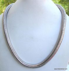VINTAGE ANTIQUE DESIGN SOLID SILVER ROPE CHAIN NECKLACE RAJASTHAN INDIA