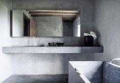 100% #Ciment ! Du comptoir au bain en passant par les murs!  Via wreckorated.blogspot.com
