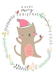 This in more of our style! I really like the border idea / having an adorable animal in a wreath / border. #CatIllustration