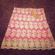 Skirt Pink skirt with white lace. Brand new and has never been worn. Francesca's Collections Skirts