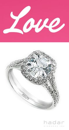 Love by HadarDiamonds.com . Split-shank diamond halo engagement ring setting.  Ideal for a Valentine's Day Proposal.  Looking forward to the engagement ~