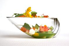 Alaskan King Crab, kalamansi (citrus fruit), cucumber, and lemon balm by chef Curtis Duffy of Grace. ©️️ Michael Muser - See more at: http://theartofplating.com/gallery/?home=1&link=post-376#gallery65731