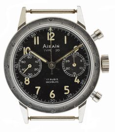 "Rare Airain French Army Helicopter pilot ""Type 20"" flyback chronograph circa 1969 one of approximately 2,000 issued to French pilots from 1960 to 1980"