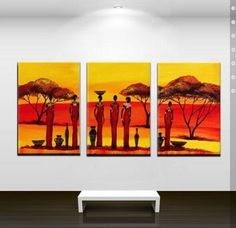 Hand Painted Stretched painting on canvas sun African by btfart