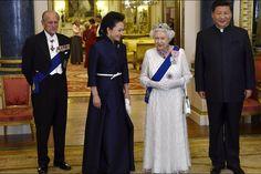 La reine Elizabeth II et le prince Philip avec le président chinois Xi Jinping et sa femme à Buckingham Palace, le 20 octobre 2015