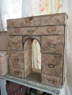 Couverts de STUNNIING grand Antique du Vintage 1920 tissu Français Boudoir commode boîte coffre tiroirs Alter Arch découpe