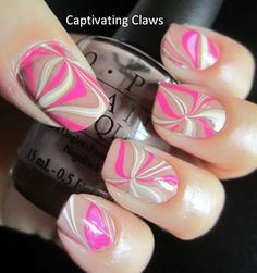 Pink, White, and Beige Water Marble Nails
