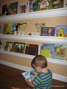 Rain gutter book shelfs