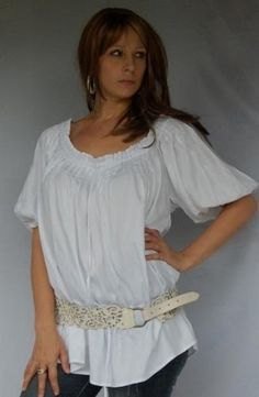 WHITE BLOUSE TOP PEASANT PLEATS RUFFLE - FITS (ONE SIZE) - L 1X 2X - Q938S LOTUSTRADERS LOTUSTRADERS. $42.99