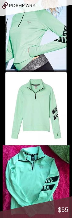 Ultimate Half Zip Sweater Pullover Mint Green VICTORIA'S SECRET Pink Ultimate Half Zip Sweater Pullover Mint Green Sz Small  Reflective Logo dog on chest Graphic logo detail on one sleeve 90% polyester 10% Elastane Sleeve thumbholes flattering and smoothing premium stretch fabric PINK Victoria's Secret Tops Sweatshirts & Hoodies