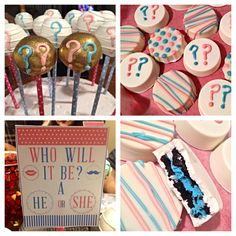 Gender reveal cakepops and chocolate covered Oreos.