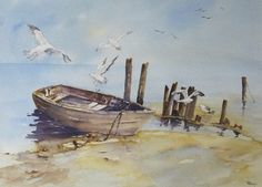 Promoting public interest in watercolours and the knowledge of members in watercolour painting. Watercolor Painting Techniques, Watercolor Landscape Paintings, Watercolor Artwork, Landscape Art, Sailboat Art, Nautical Art, Boat Drawing, Boat Painting, Beach Art