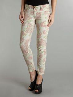 Current Elliott Mid rise skinny stiletto rose print jean Rose - House of Fraser #destinationdenim #blue #jeans #denim #houseoffraser